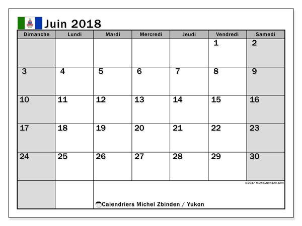 Calendrier juin 2018, avec les jours fériés du Yukon. Calendrier mensuel à imprimer gratuit.