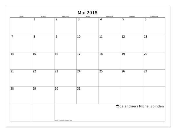calendrier a imprimer mois de mai 2018