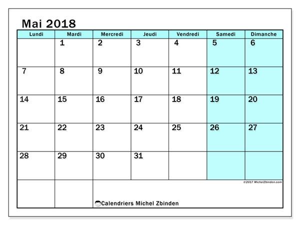Calendrier Mai 2018 59ld Michel Zbinden Fr