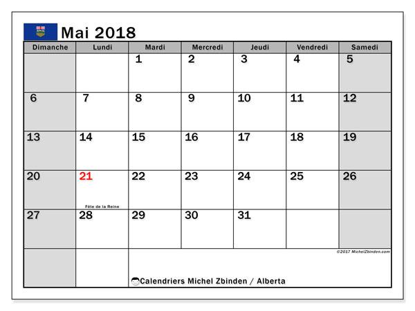 Calendrier mai 2018, avec les jours fériés de l'Alberta. Calendrier mensuel à imprimer gratuit.