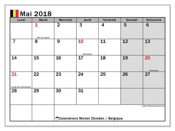 Calendrier mai 2018, avec les jours fériés de la Belgique. Calendrier mensuel à imprimer gratuit.
