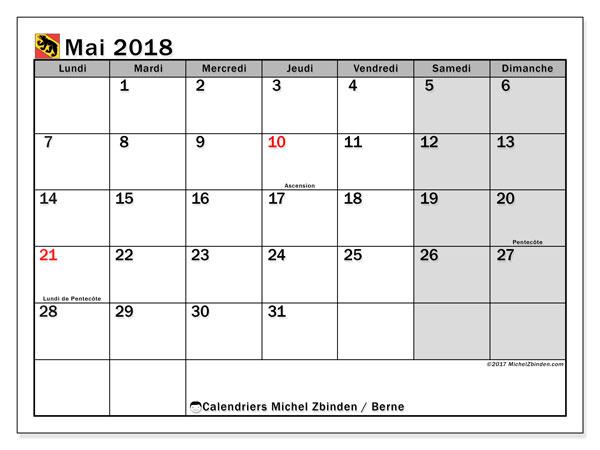 Calendrier mai 2018, avec les jours fériés du Canton de Berne. Calendrier mensuel à imprimer gratuit.