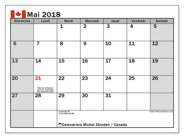 Calendrier mai 2018, avec les jours fériés du Canada. Calendrier mensuel à imprimer gratuit.