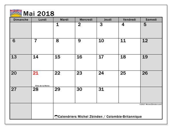 Calendrier mai 2018, avec les jours fériés de la Colombie-Britannique. Calendrier gratuit à imprimer.