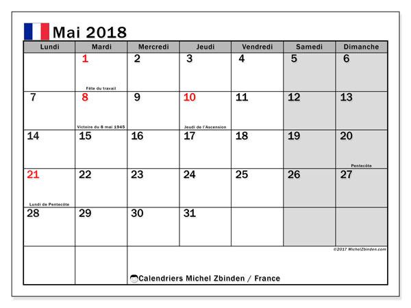 Calendrier mai 2018, avec les jours fériés de la France. Calendrier gratuit à imprimer.