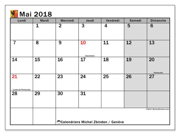 Calendrier mai 2018, avec les jours fériés du Canton de Genève. Calendrier pour le mois à imprimer gratuit.