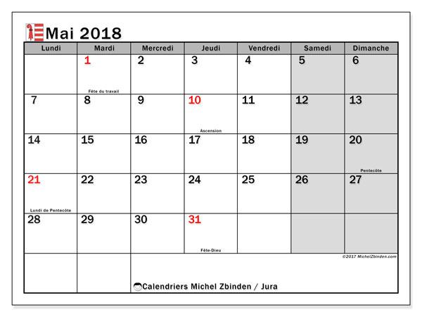 Calendrier à imprimer gratuit mai 2018, avec les jours fériés du Canton du Jura. Calendrier mensuel.