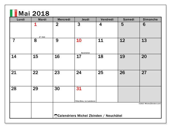 Calendrier mai 2018, avec les jours fériés du Canton de Neuchâtel. Planificateur à imprimer gratuit.