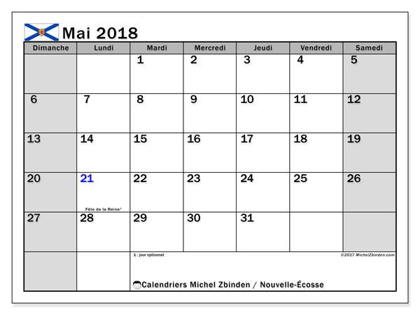 Calendrier mai 2018, avec les jours fériés de la Nouvelle-Écosse. Calendrier à imprimer gratuit.