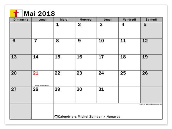 Calendrier mai 2018, avec les jours fériés du Nunavut. Organisateur à imprimer gratuit.