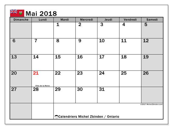 Calendrier mai 2018, avec les jours fériés de l'Ontario. Calendrier pour le mois à imprimer gratuit.
