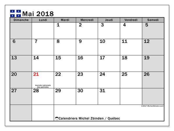 Calendrier mai 2018, avec les jours fériés du Québec. Calendrier imprimable gratuit.