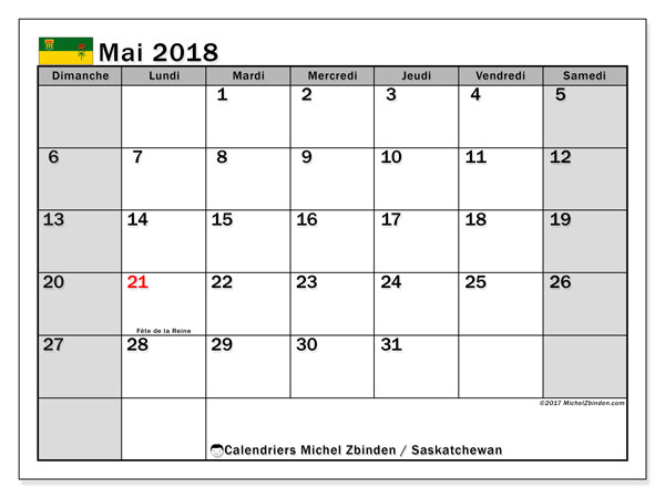Calendrier mai 2018, avec les jours fériés de la Saskatchewan. Calendrier à imprimer gratuit.