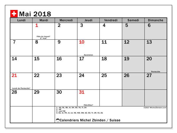 Calendrier mai 2018, avec les jours fériés de la Suisse. Organisateur à imprimer gratuit.