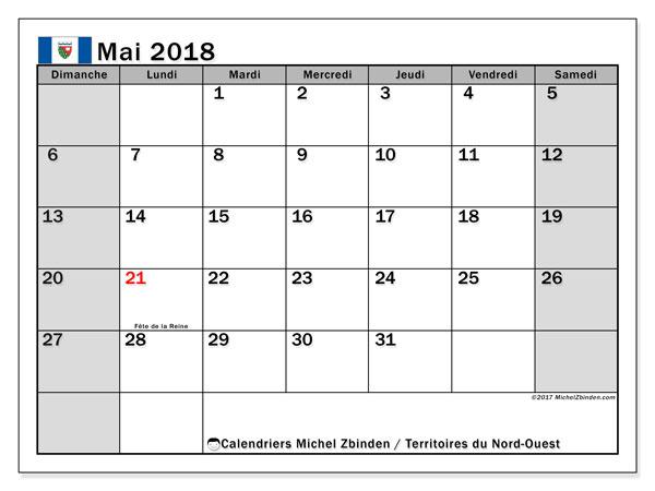 Calendrier mai 2018, avec les jours fériés des Territoires du Nord-Ouest. Calendrier à imprimer gratuit.