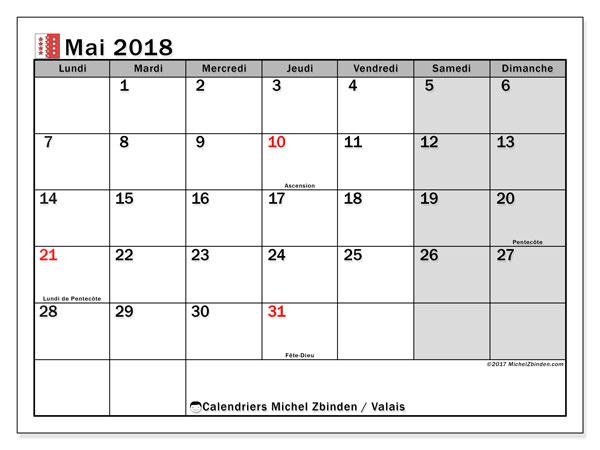 Calendrier à imprimer gratuit mai 2018, avec les jours fériés du Canton du Valais
