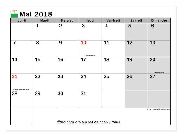 Calendrier mai 2018, avec les jours fériés du Canton de Vaud. Calendrier gratuit à imprimer.