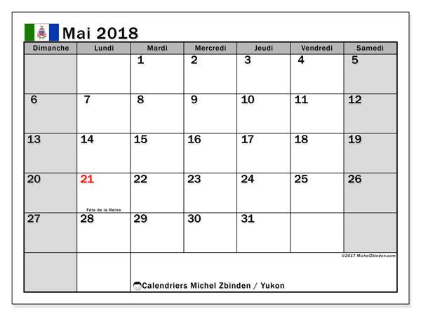 Calendrier mai 2018, avec les jours fériés du Yukon. Calendrier à imprimer gratuit.