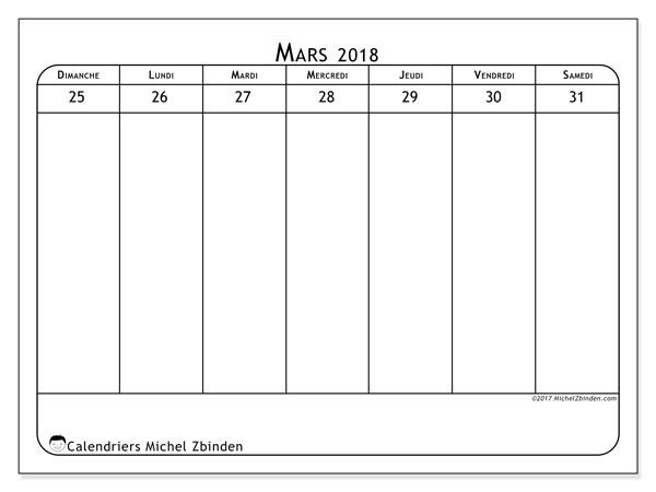 Calendrier mars 2018 (43-5DS). Semainier à imprimer gratuit.
