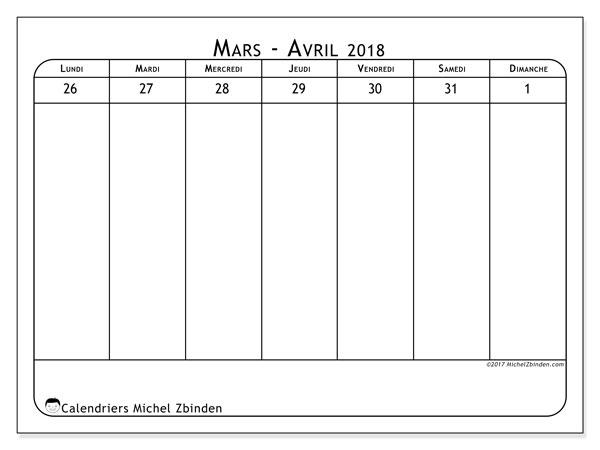 Calendrier mars 2018 - 43-5LD. Semainier à imprimer gratuit.