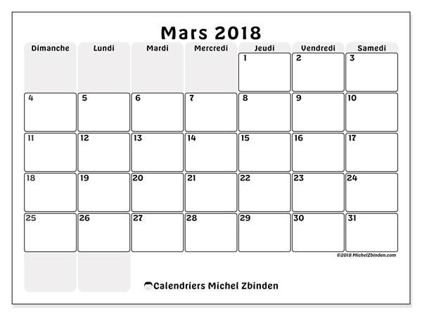 Calendrier mars 2018 (44DS). Calendrier mensuel à imprimer gratuit.