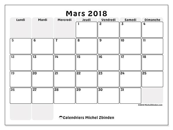 Calendrier mars 2018 (44LD). Planificateur à imprimer gratuit.