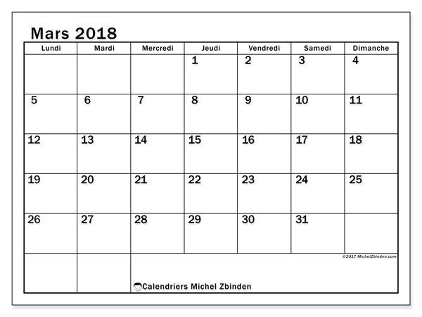 Calendrier mars 2018 (50LD). Organisateur à imprimer gratuit.