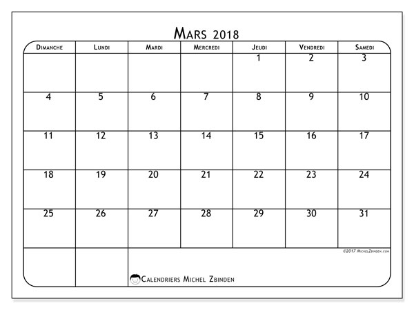 Calendrier mars 2018 - 51DS. .
