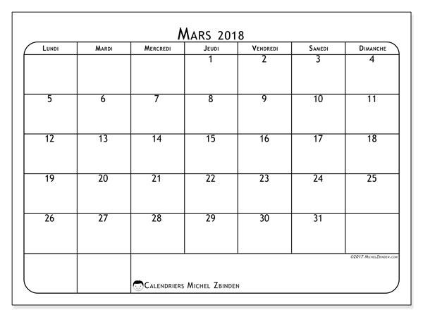 Calendrier mars 2018 (51LD). Planificateur à imprimer gratuit.
