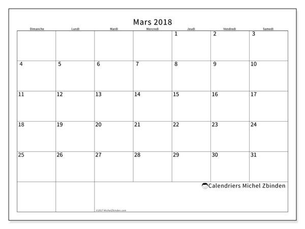 Calendrier mars 2018 (53DS). Calendrier à imprimer gratuit.
