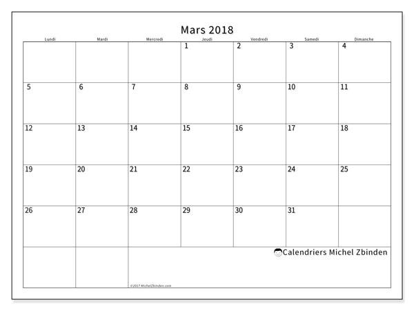 Calendrier mars 2018 (53LD). Organisateur à imprimer gratuit.
