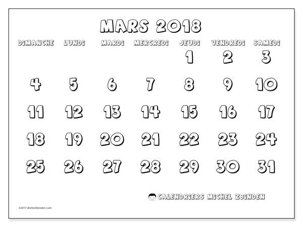Calendrier mars 2018 (56DS). Calendrier à imprimer gratuit.