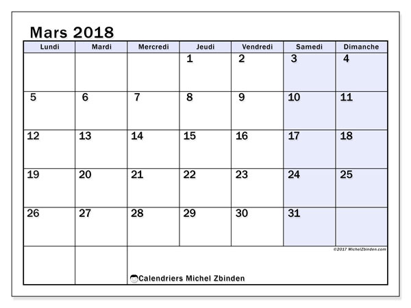 Calendrier mars 2018 (57LD). Organisateur à imprimer gratuit.