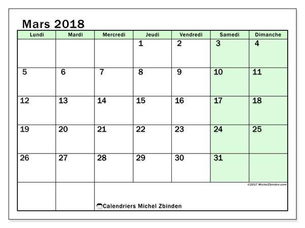 Calendrier mars 2018 (60LD). Planificateur à imprimer gratuit.