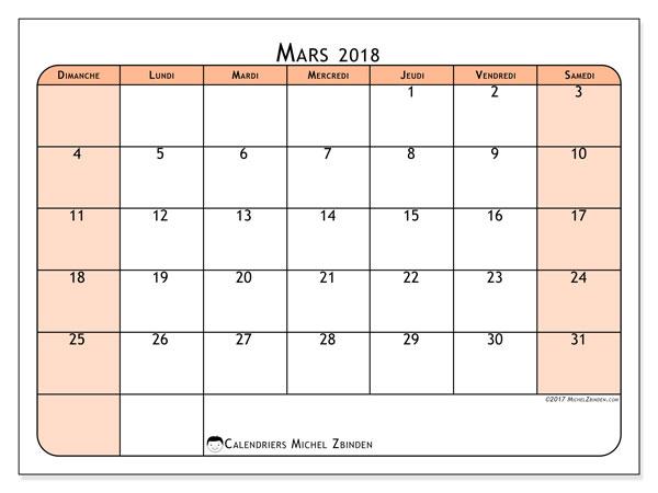 Calendrier mars 2018 - 61DS. Calendrier à imprimer gratuit.
