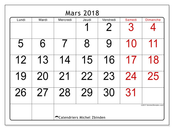 Calendrier mars 2018 (62LD). Calendrier mensuel à imprimer gratuit.
