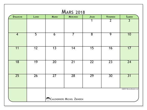 Calendrier mars 2018 (65DS). Calendrier pour le mois à imprimer gratuit.