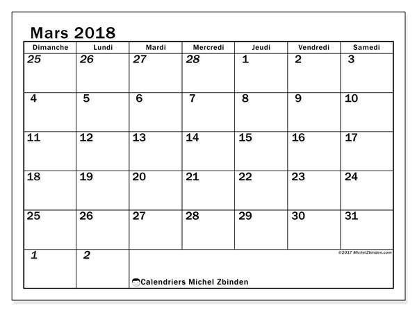 Calendrier mars 2018 (66DS). Calendrier mensuel à imprimer gratuit.