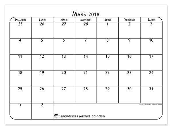 Calendrier  mars 2018, 67DS