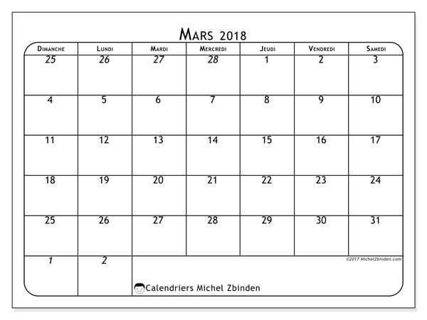 Calendrier mars 2018 (67DS). Planificateur à imprimer gratuit.