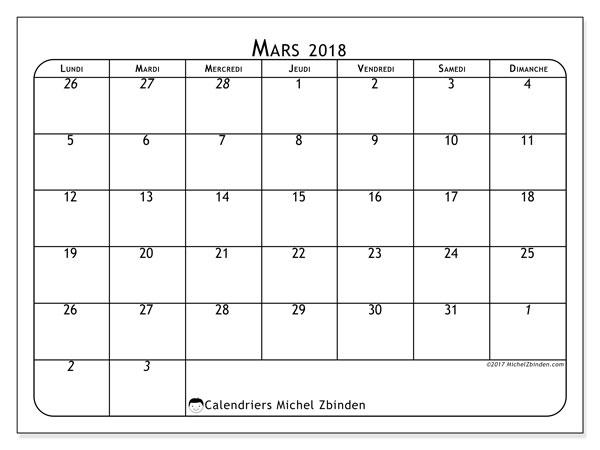 Calendrier mars 2018 (67LD). Calendrier imprimable gratuit.