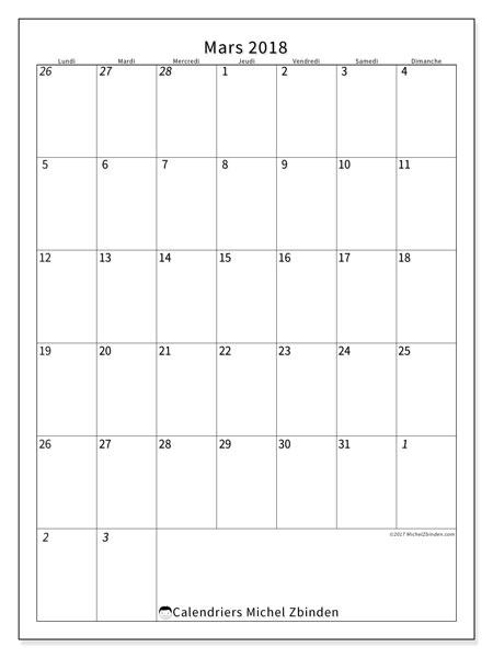 Calendrier mars 2018 (68LD). Calendrier gratuit à imprimer.