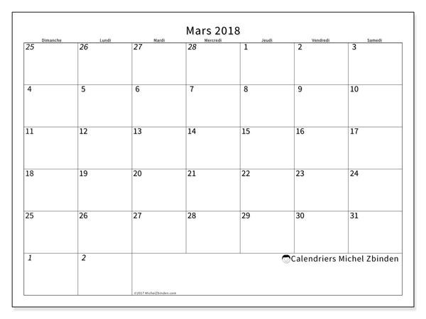 Calendrier mars 2018 (70DS). Calendrier pour le mois à imprimer gratuit.
