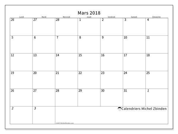 Calendrier mars 2018 (70LD). Planificateur à imprimer gratuit.