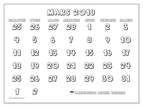 Calendrier mars 2018 - 71DS. Calendrier mensuel à imprimer gratuit.