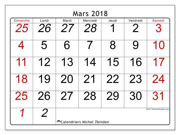 Calendrier mars 2018 (72DS). Organisateur à imprimer gratuit.