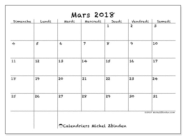 Calendrier  mars 2018, 77DS