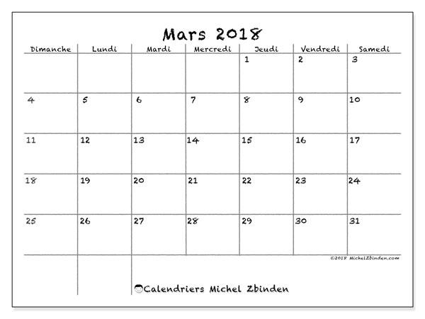 Calendrier mars 2018 (77DS). Calendrier à imprimer gratuit.