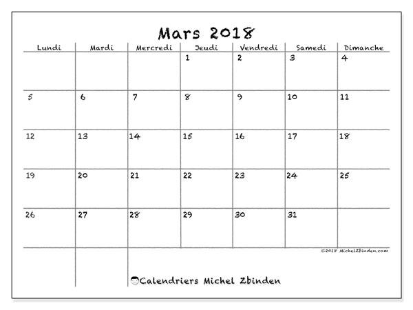 Calendrier mars 2018 (77LD). Calendrier à imprimer gratuit.