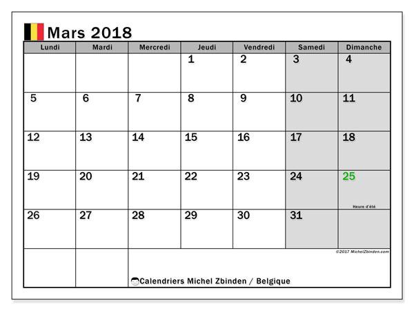 Calendrier mars 2018, avec les jours fériés de la Belgique. Planificateur à imprimer gratuit.